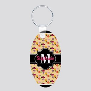 Bees and Ladybugs Pattern C Aluminum Oval Keychain