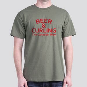 Beer and Curling Dark T-Shirt