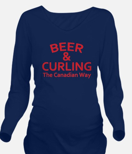 Beer and Curling Long Sleeve Maternity T-Shirt