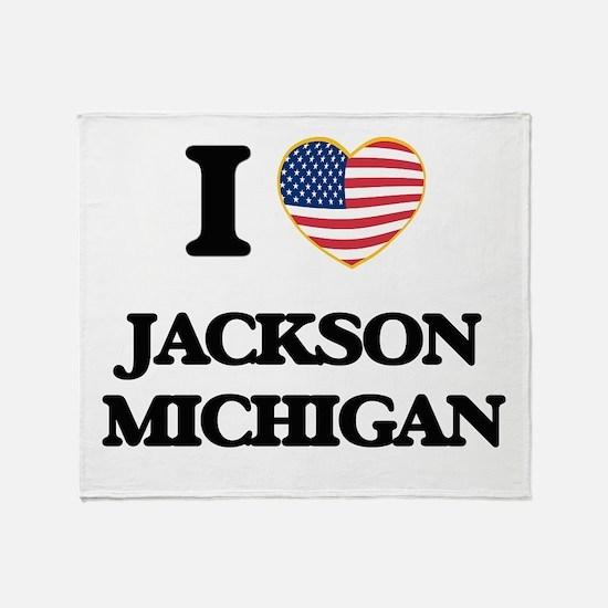 I love Jackson Michigan Throw Blanket