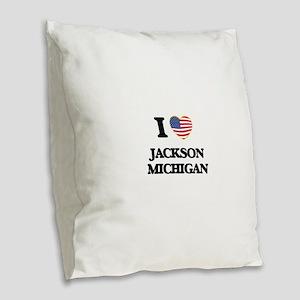 I love Jackson Michigan Burlap Throw Pillow
