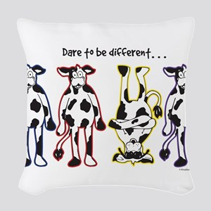 Dare to be Different Cows Woven Throw Pillow