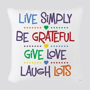 Live Simply Affirmations Woven Throw Pillow