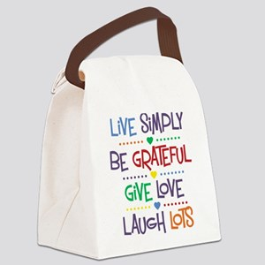 Live Simply Affirmations Canvas Lunch Bag