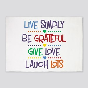 Live Simply Affirmations 5'x7'Area Rug