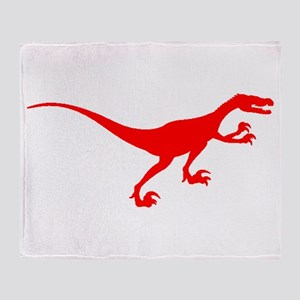 Velociraptor Silhouette (Red) Throw Blanket