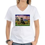 Autumn Angel & Rottie Women's V-Neck T-Shirt