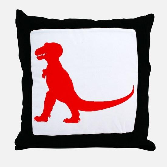 Tyrannosaurus Rex Silhouette (Red) Throw Pillow