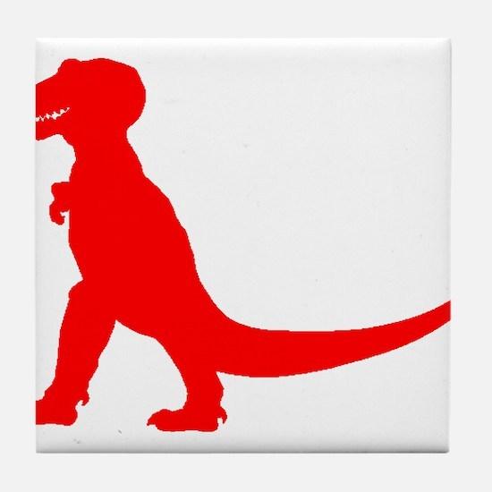 Tyrannosaurus Rex Silhouette (Red) Tile Coaster