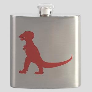 Tyrannosaurus Rex Silhouette (Red) Flask