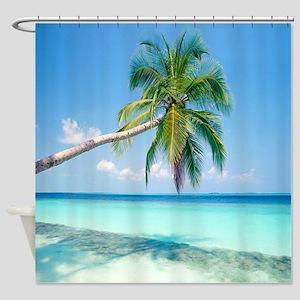 Lazy Tropical Palm Beach Shower Curtain