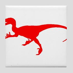 Velociraptor Silhouette (Red) Tile Coaster