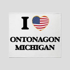 I love Ontonagon Michigan Throw Blanket