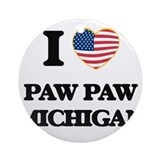 Paw paw michigan Round Ornaments