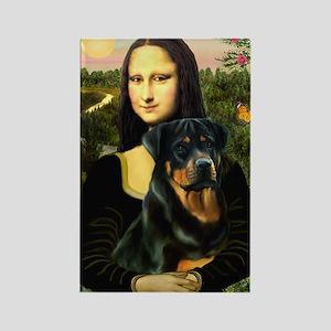Mona Lisa & Rottie Rectangle Magnet
