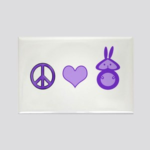 Peace,Love&Bunnies Rectangle Magnet
