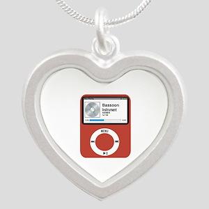 Ipad Bassoon Silver Heart Necklace
