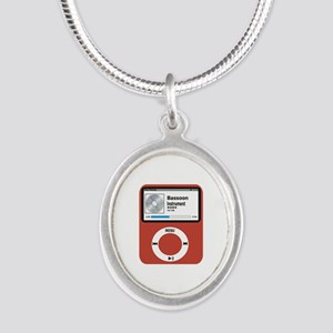 Ipad Bassoon Silver Oval Necklace