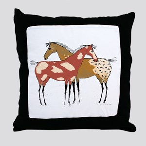 Two Horse Appaloosa & Paint Design Throw Pillow