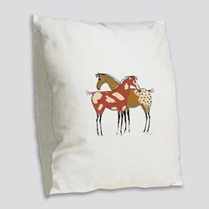 Two Horse Appaloosa & Paint Design Burlap Throw Pi