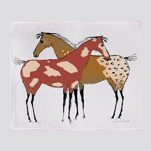 Two Horse Appaloosa & Paint Design Throw Blanket