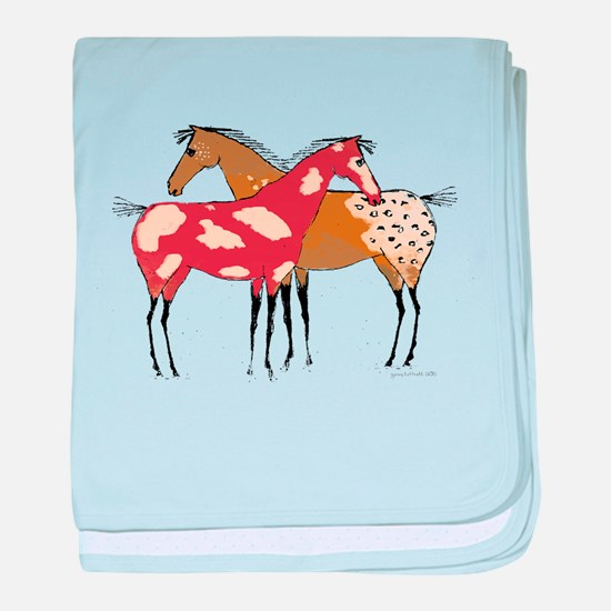 Two Horse Appaloosa & Paint Design baby blanket