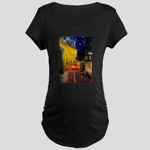 Cafe with Rottie Maternity Dark T-Shirt