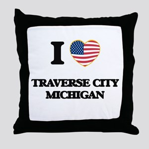 I love Traverse City Michigan Throw Pillow