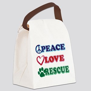 Peace Love Rescue Canvas Lunch Bag