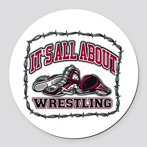It's All About Wrestling Round Car Magnet