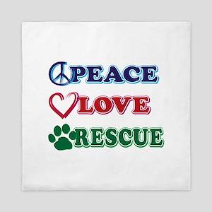 Peace Love Rescue Queen Duvet