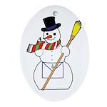 The Masonic Snowman Oval Ornament