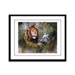 Lion And Lamb Framed Panel Print