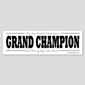 Grand Champion Pig Bumper Sticker