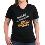 Free Prize Inside Women's V-Neck Dark T-Shirt