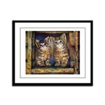 Kittens In Window Framed Panel Print
