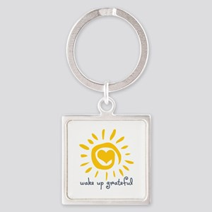 Wake Up Grateful Square Keychain