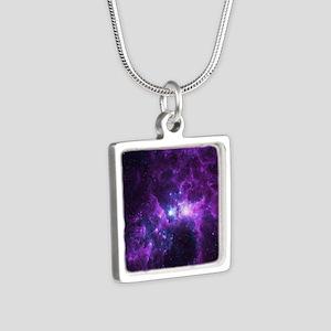 Purple Galaxy Silver Square Necklace