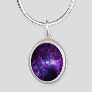 Purple Galaxy Silver Oval Necklace