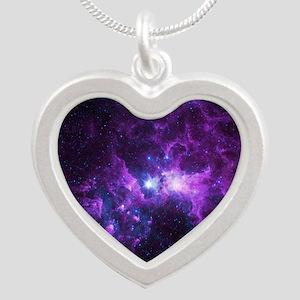 Purple Galaxy Silver Heart Necklace