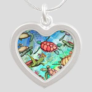 Sea Turtles Silver Heart Necklace