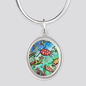 Sea Turtles Silver Oval Necklace