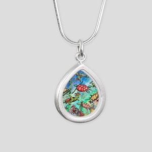 Sea Turtles Silver Teardrop Necklace