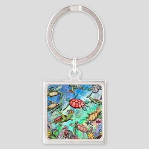 Sea Turtles Square Keychain