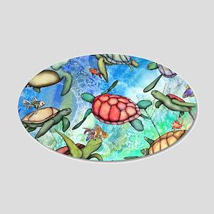Sea Turtles 20x12 Oval Wall Decal