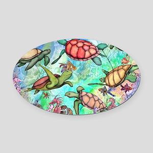 Sea Turtles Oval Car Magnet