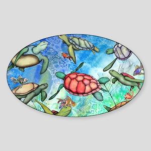 Sea Turtles Sticker (Oval)