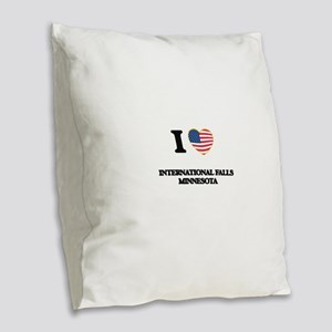 I love International Falls Min Burlap Throw Pillow