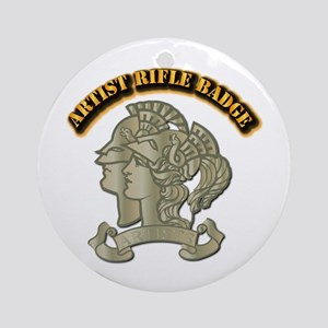 Artist Rifle Badge with Text Ornament (Round)