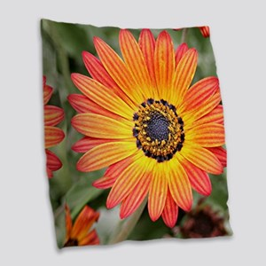 Orange and Yellow Gazania Flow Burlap Throw Pillow